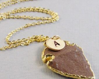 Jasper Arrowhead,Arrowhead Necklace,Gold Arrowhead,Tan Arrowhead,Taupe Arrowhead,Gold Necklace,Initial Necklace,Letter Necklace,monogram