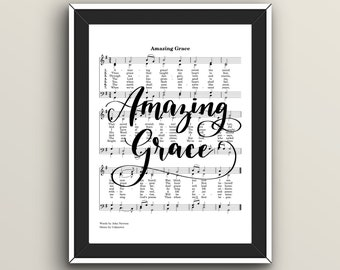 Amazing Grace Hymn, Hand Lettered Digital Print