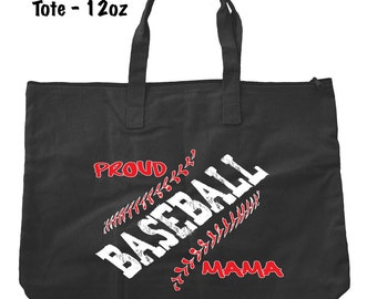 Proud Baseball Mama Tote Bag - Baseball Tote Bag - Bags and Totes - Baseball Mom Bag - Baseball Present - Gifts For Mom