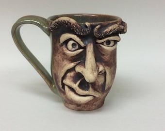 Ceramic face mug, face mug, coffee cup, coffee mug, ceramics, pottery, wheel thrown pottery, ceramic mug, ceramic dishware, mug, cup