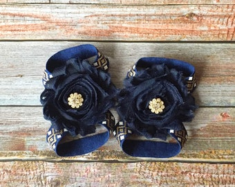 Navy Barefoot Sandals, Baby Barefoot Sandals, Baby Sandals, Baby Shoes, Newborn Shoes, Newborn Sandals, Baby Girl Shoes, Baby Girl Sandals