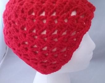 Red Crochet Hat, spiral hat, crochet hat for girls, valentines gift