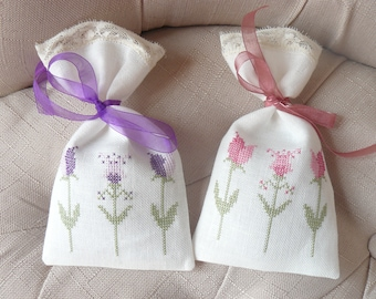 large Lavender sachet hand embroidery