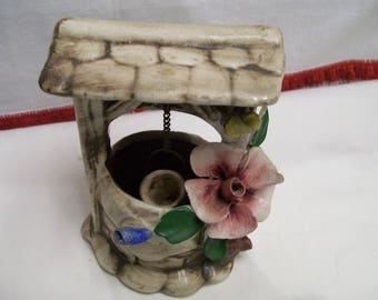 Vintage,  Capodimonte , Wishing Well,  Figurine, Bassano,  Italy Glazed Porcelain Italian Decor Lovely Floral Wishing Well 4 1/2 Inches Tall