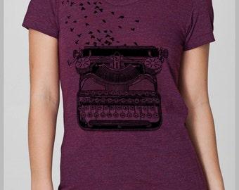 Writers Shirts for Women, Summer shirt,  Typewriter Birds T Shirt, American Apparel Tee, Tshirt Womens, Gift for her, Gift for writer Lemon
