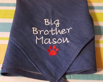Dog Bandana Big Sister Big Brother Personalized, Baby Announcement, New Baby, Baby Shower Gift