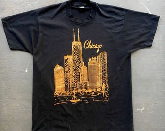 Chicago Skyline 1980s vintage tee shirt size extra large