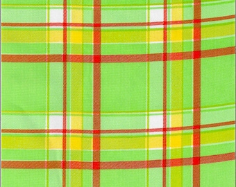 Plaid Oilcloth fabric in Lime and Orange