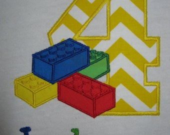 Personalized Building Block Birthday Shirt shown here as fourth 4th birthday shirt
