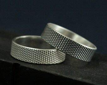 Textured Ring--Dot Matrix--Silver Flat Edge Band--Men's Wedding Ring--Snakeskin Ring--Dot Ring--Scifi Ring--Cyberpunk Ring--Polka Dot Ring