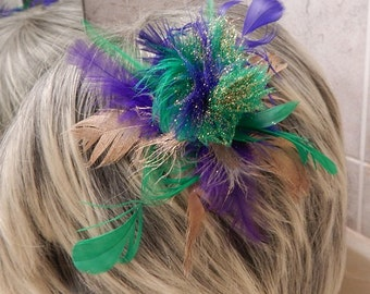 Wild and woolly Mardi Gras Feather Accessory Hair or Hat