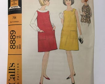 Pattern McCall's 8889 Vintage 1960's Maternity Jumper Dress and Button Back Tunic Top Blouse Size