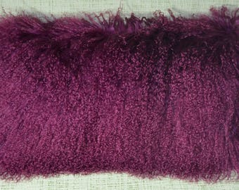 Purple Mongolian tibetan Lamb fur Pillow  new made in usa authentic tibet cushion insert included