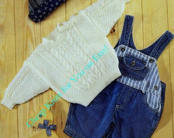 Baby / Toddler Aran / Fishermans Knit style 4ply Jumper / Sweater sizes 16 to 22 inches -  Vintage Knitting pattern - PDF Instant Download