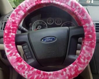Fleece Steering Wheel Cover - Pink