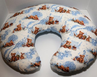 Reversible Boppy Nursing Pillow Cover: Teddy Bears, Books & Toys with Blue gingham