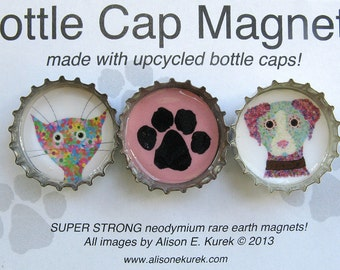 Cute Cat and Dog Bottle Cap Magnets - Paw Print Magnet - Packaged Gift Set of 3 - Cat Gift - Dog Gift