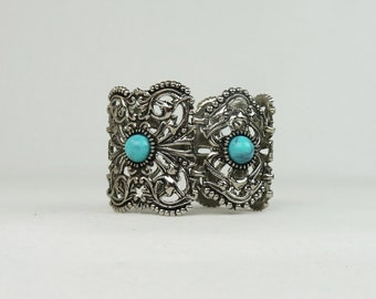 Vintage Silver Tone Bracelet - Wide Chunky Cuff Hinge Bracelet with Faux Turquoise