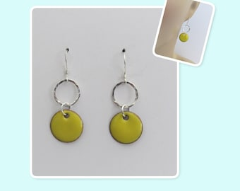 Buttercup Yellow Circle Enamel Sterling Silver Hammered Circle Earrings