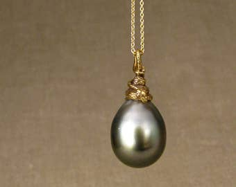18K Coiled Snake Tahitian Pearl Drop - Necklace/Pendant