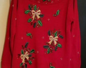 Victoria Jones Red Christmas Sweater Cowl neck collar sz small