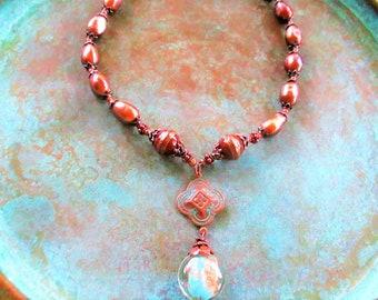 Aqua Lampwork necklace, aqua boho copper choker necklace, copper pearl necklace, patina turquoise choker, aqua necklace
