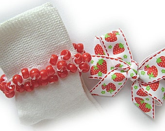 Kathy's Beaded Socks - Summer Strawberry Socks and Hairbow, girls socks, red socks, pony bead socks, school socks, strawberry socks