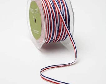 10 Yards - 3/16 Inch Red White Blue Ribbon