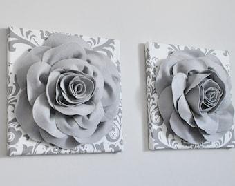 Perfect Bathroom Damask Print Rose Gray Bathroom Wall Decor Gray And White Bathroom  Decor Nursery Wall Hanging