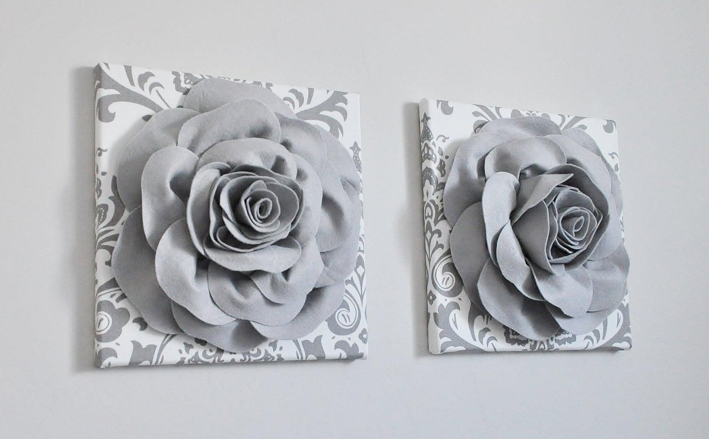 Bathroom Damask Print Rose Gray Bathroom Wall Decor Gray And
