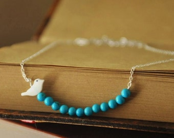 Dainty Silver Necklace-  Tiny Bird Necklace, Turquoise Necklace, Cute Necklace, Necklace for Girls