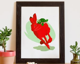 Screen printed poster, art print, the tortoise and the child or not. 30 x 40 cm