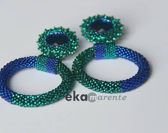 Party earrings, flamenco earrings, crochet round earrings