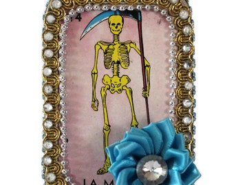 Loteria Card, Mexican Tin, La Muerte Loteria, Mexican Loteria, Stash Box, Mixed Media Mexican Art, Day of the Dead, Grim Reaper Stash Box