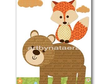 INSTANT Fox DOWNLOAD Print Baby Nursery Decor Nursery Digital Print Baby Boy Nursery Art Printable Art Digital Download Art 8x10 11X14
