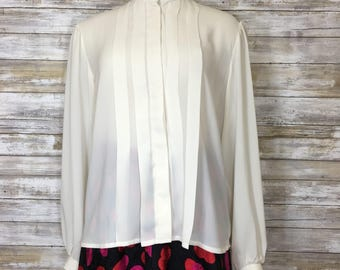 Vintage 80's Steven Barry Off-White Button Down Ruffled Collar Pleated Front Blouse
