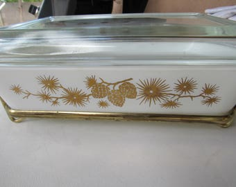 Vintage White and Gold Pinecone PYREX Baking Dish and Stand