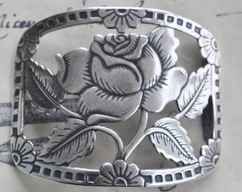 Rose Bracelet Brass Base, Sterling Silver Finish, Brass Stampings Made in the USA, Jewelry Bases, Bracelet Centerpiece