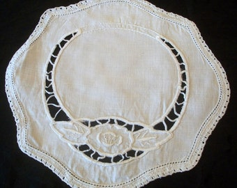 White Embroidered Flower & Cut Out White Linen Doily