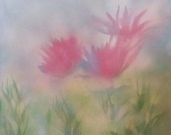 Original Canvas Painting | Misty Pink Red Flowers