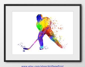 Hockey Print, Hockey Player Watercolor Print, Hockey Art, Sport Wall Art, Sport Poster, Hockey Decor, Hockey Abstract (A0260)