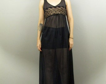 Vintage 50's Sheer Black Maxi Boudoir Slip Dress S