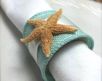 Sugar Starfish Napkin Ring with Sea Blue Ribbon - Beach Wedding - seashore - shells