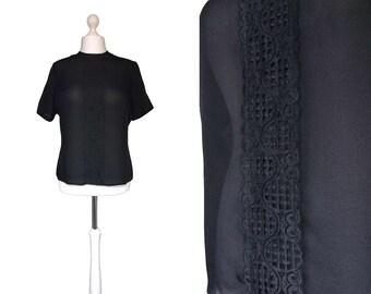 1950's Blouse   50's Vintage Blouse   Black Blouse   Zip Back   Large   Semi Sheer Lace Blouse