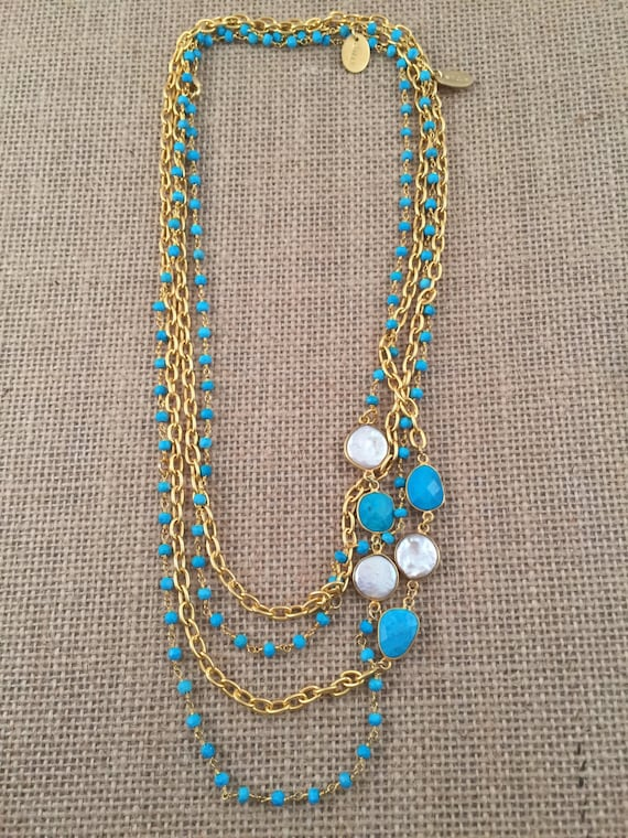 "Turquoise & Baroque Freashwater Pearl Gemstone Link Chain Necklace - 22K gold plated - 42"" long - Double Wrap - Long - HOLBOX 1"