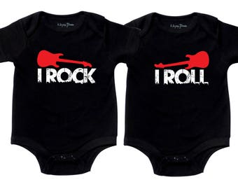 Twin Boy Outfits, I Rock I Roll, Twin Outfits, sizes from 0 to 12 months, Twin Boy Outfits