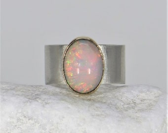 Sterling silver Ethiopian welo opal ring with 18k gold. 18k gold ring. Natural opal ring. Size 6 1/2 US. 925 silver ring. Gemstone ring