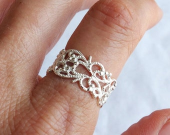 Sterling Silver Ring, Silver Lace Ring,  Spiral Ring, Ethnic Ring, Silver Band Ring, Wide Ring, Filigree Ring