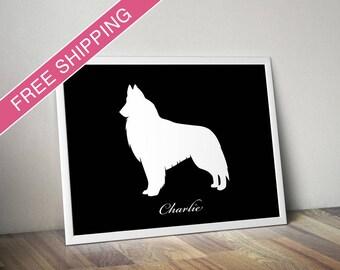 Personalized Belgian Tervuren Silhouette Print with Custom Name - Tervuren art, dog home decor, dog gift, dog poster