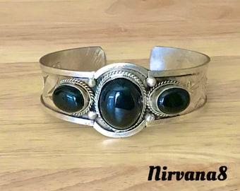 Dark Black Onyx Threestone TibetanSilver Cuff Bracelet